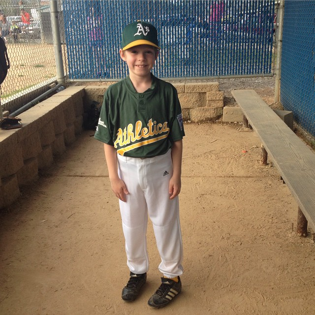 Tobin is starting his FIFTH season of baseball. He seemed a little nervous at the plate & struck out twice. But true to form, he kept his head up, cheered for his teammates, & played well in the field. He makes me really proud.