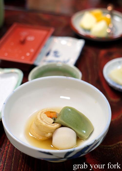 Mountain yams, rolled tofu and konnyaku jelly at Nakayasu Ryokan, Kanazawa