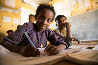 kalkidan , a 4th grade student at the Arara Kidanemeherete Primary school attending her class.