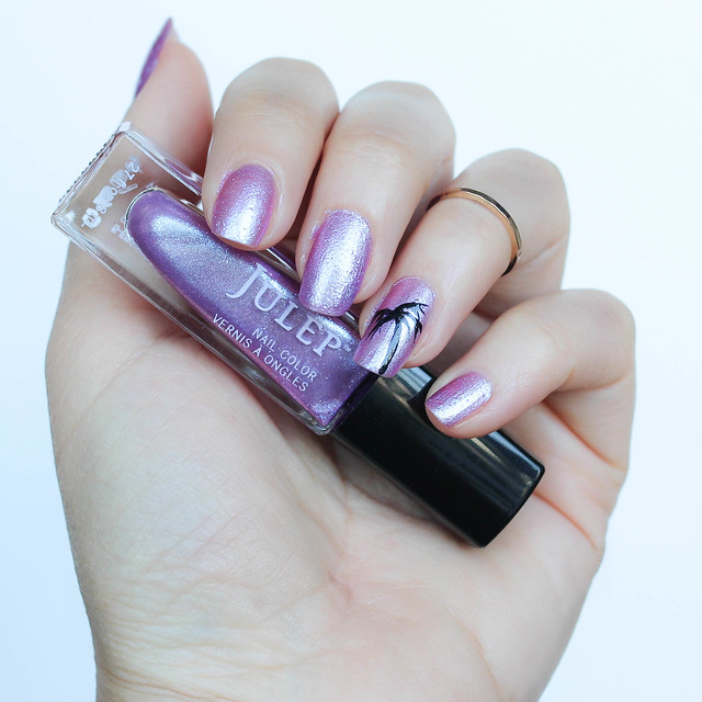 Simple Palm Tree Nail Art | Julep Nail Polish in Regina | Purple Iridescent Manicure | Living After Midnite by Jackie Giardina