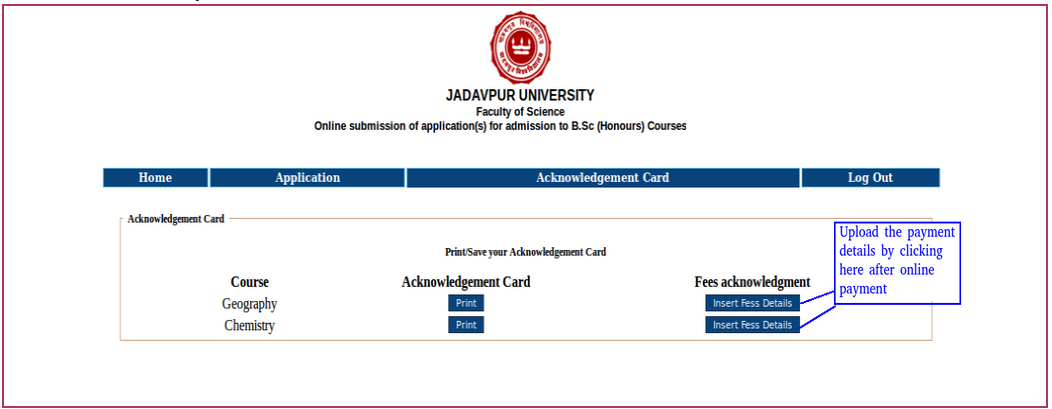 Jadavpur University B Sc Application Form 2017 Apply