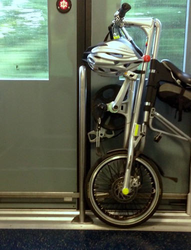 Commuting with Strida and train.