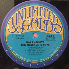 BARRY WHITE:THE MESSAGE IS LOVE(LABEL SIDE-B)