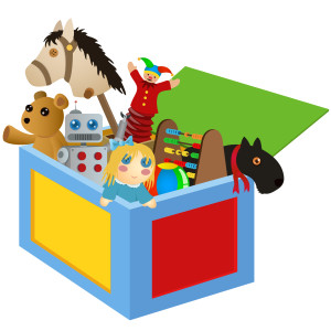 Toy box with toys inside