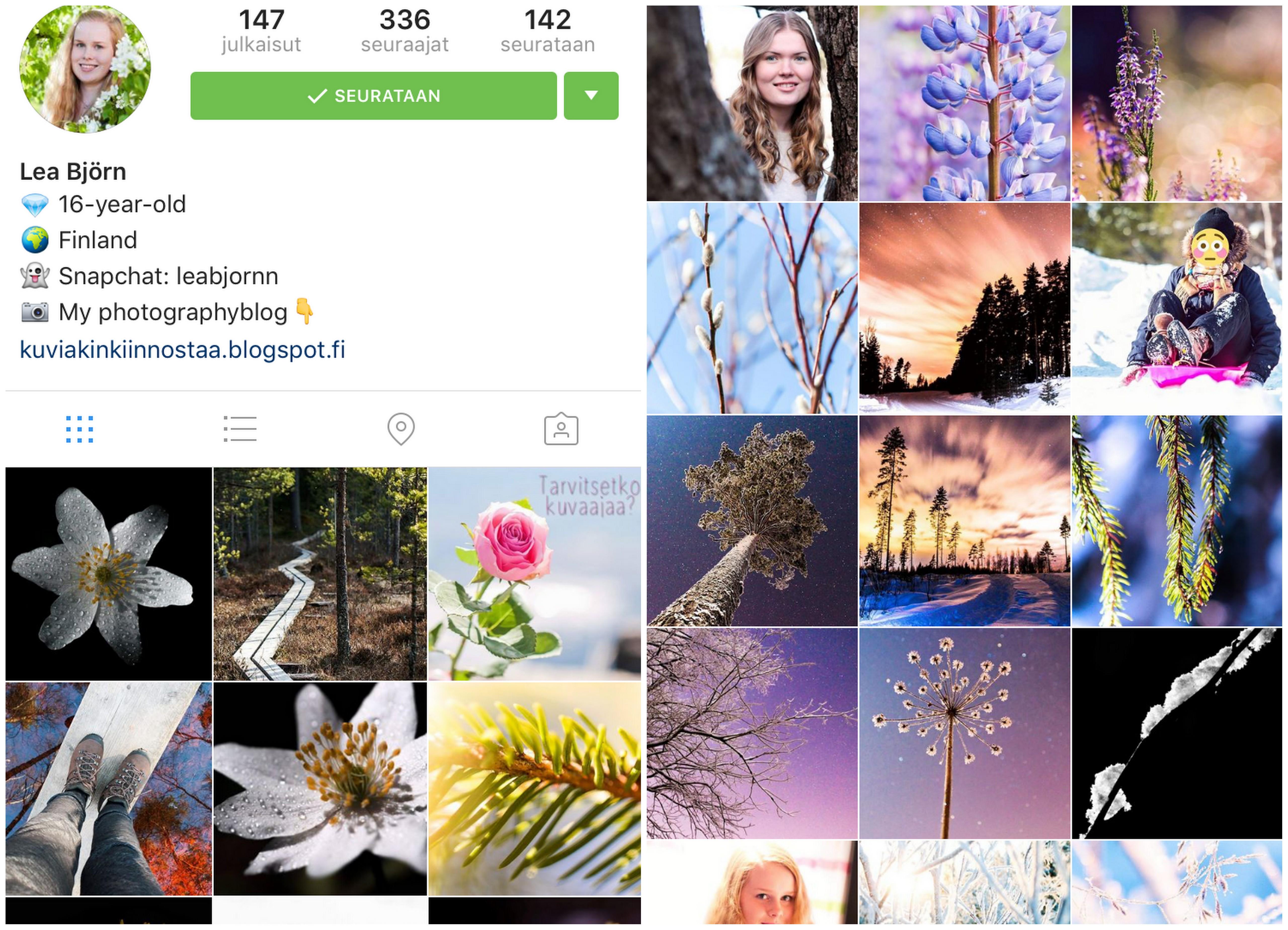 Instagram seurattavia