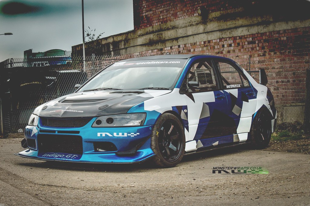 monsterous evo 8 race car camo wrap