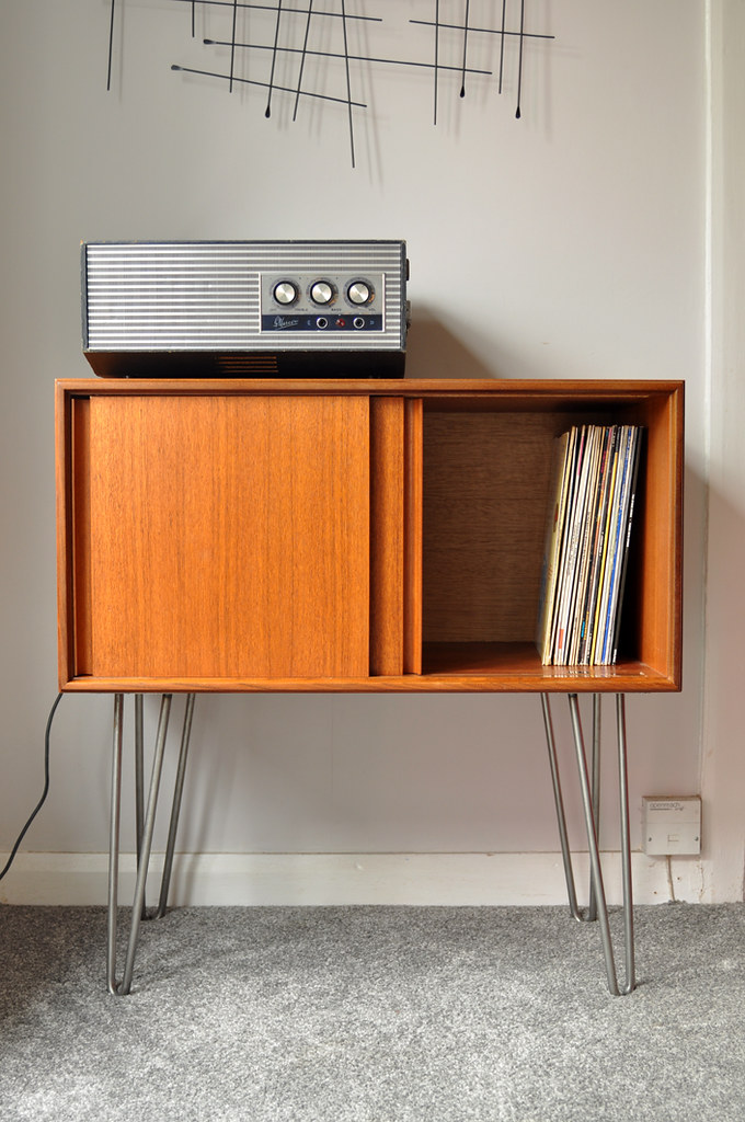 G Plan record cabinet on steel hairpin legs