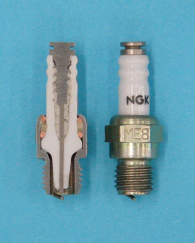 Ngk me model engine spark plug and cutaway inch