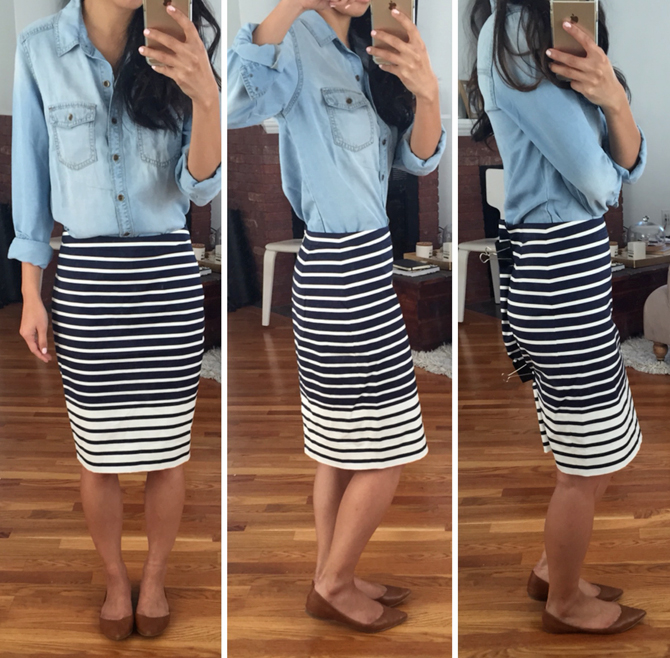 jcrew chambray shirt and stripe skirt outfit1