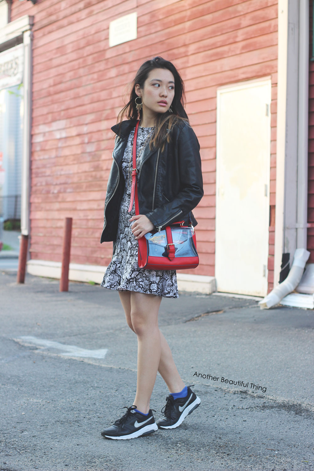 Snake print dress and black and white Nikes street style