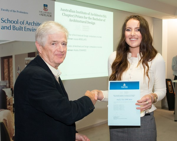 2014 Winner: Hayley Edwards - Presented by Prof Steve Grieve on behalf of AIA (SA Chapter)