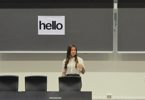 Ida Aalen standing at the front of the auditorium presenting at UX Camp CPH 2015