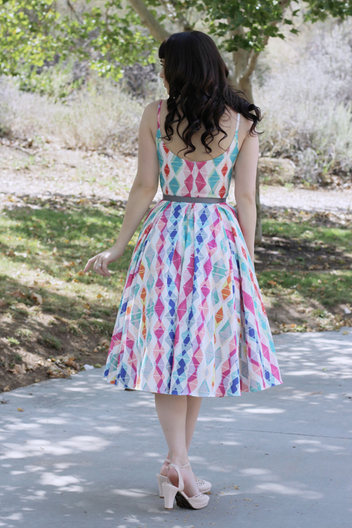 The Pretty Dress Company Unique Vintage Retro White & Multi Diamond Priscilla Miami Midi Swing Dress