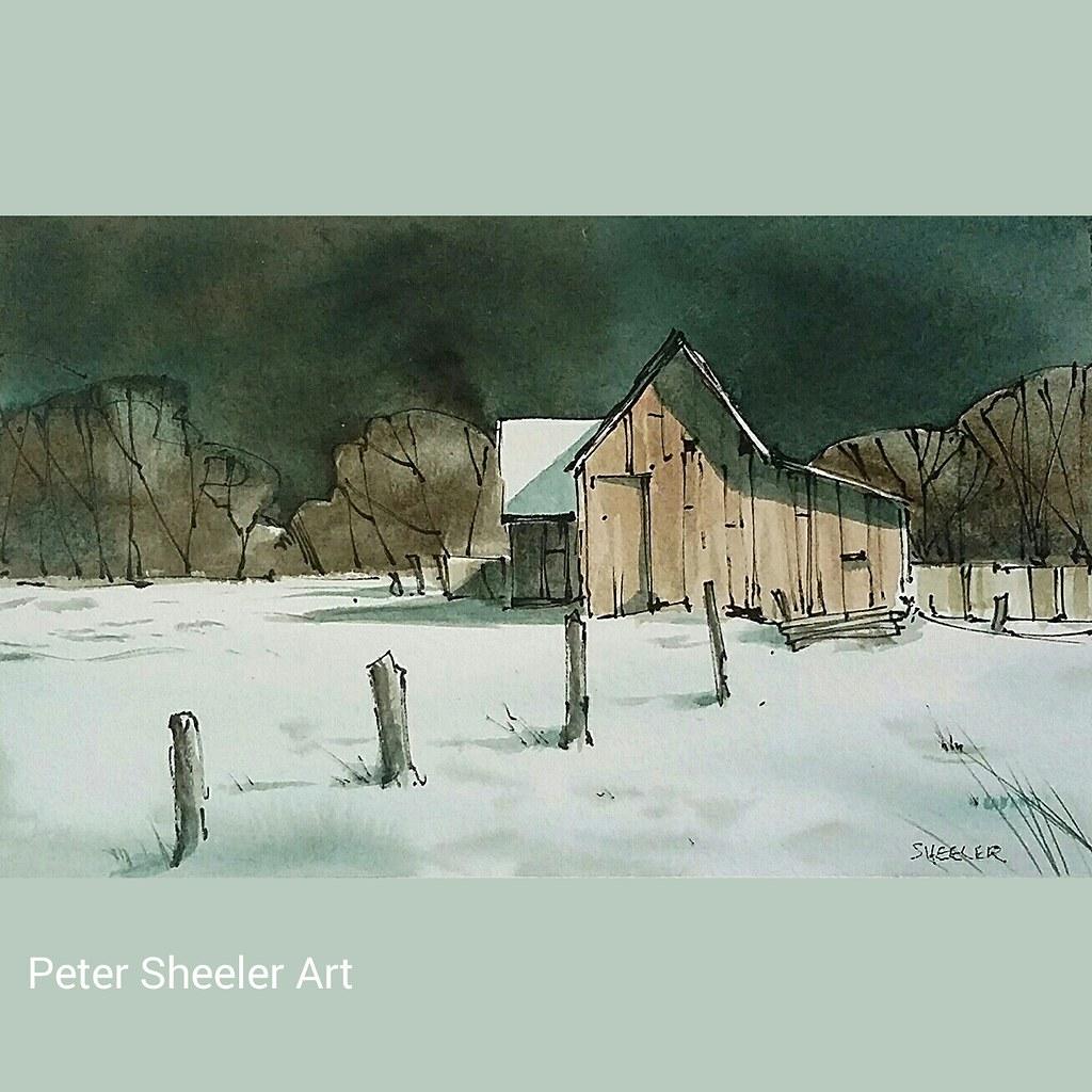 Rural sketch. Winter barn in moonlight. #landscape #art #o ...