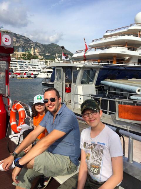 kids on a bateau bus in Monaco