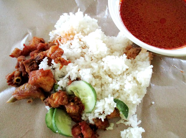 Nasi kak wok, served