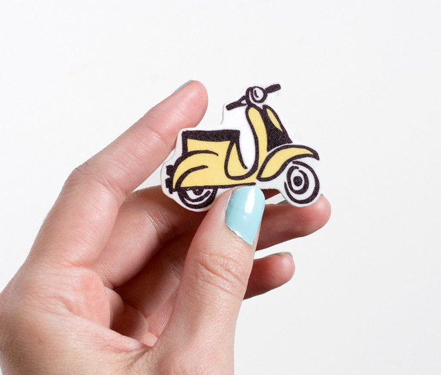 Cute Illustrated Vespa Pin by Vitamini