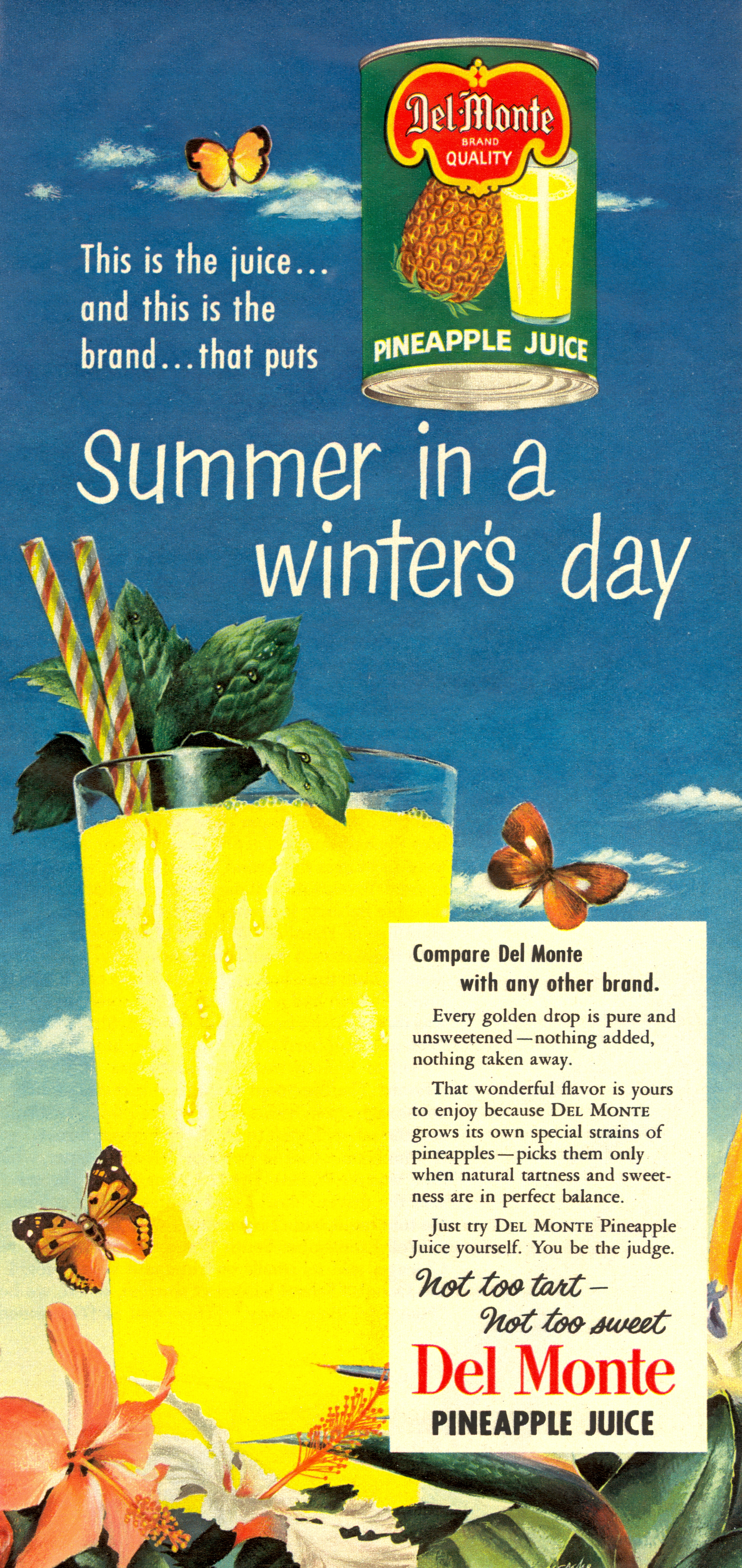 Del Monte Pineapple Juice - published in Woman's Day - February 1952