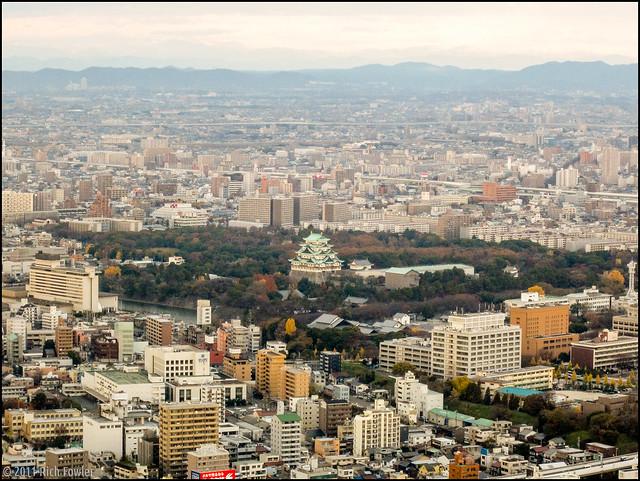 Nagoya Skyline and Nagoya Castle from the Midland Square Building.