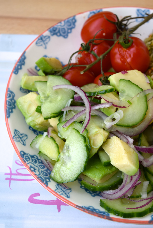 Cucumber, Red Onion & Avocado Salad | www.rachelphipps.com @rachelphipps