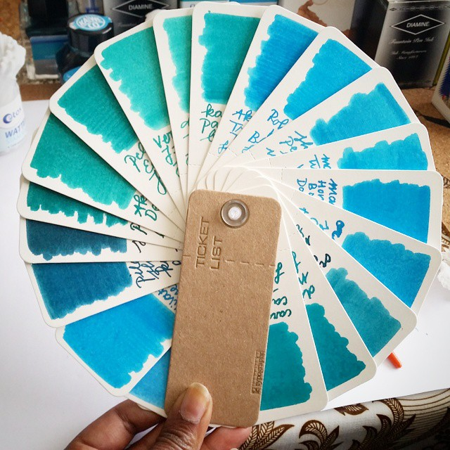The turquoise 'ink sample wheel' I made by using #letypographe 's ticket list booket (got at @misc_store_ams) Going to do a whole rainbow color palet wheels of this. The paper is really sturdy and you van use the backsides of the stubs too!