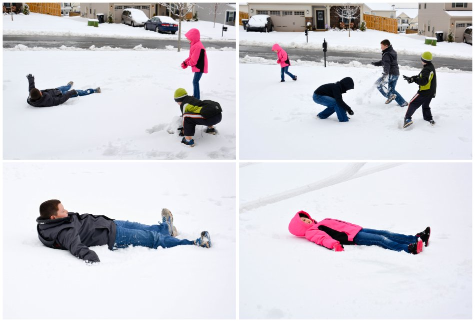 snowball fights and snow angels