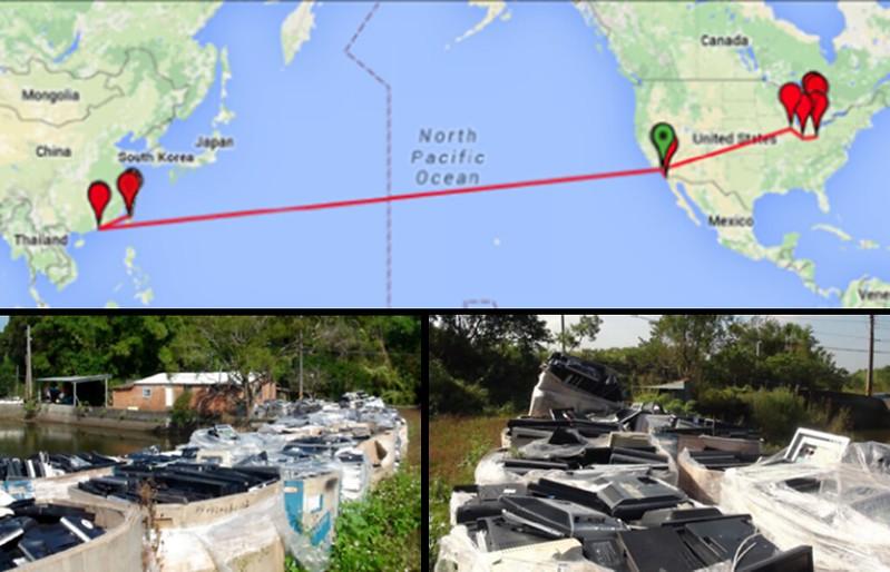 電子廢棄物(廢LCD)從美國到苗栗的偷渡旅程。圖片擷取自巴賽爾行動網報告