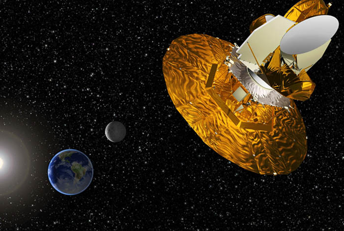 Artist's depiction of the WMAP satellite gathering data to understand the Big Bang. Source: NASA.