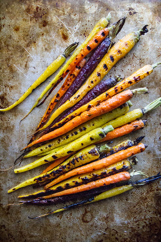 Grilled Carrots with Mint Almond Pesto