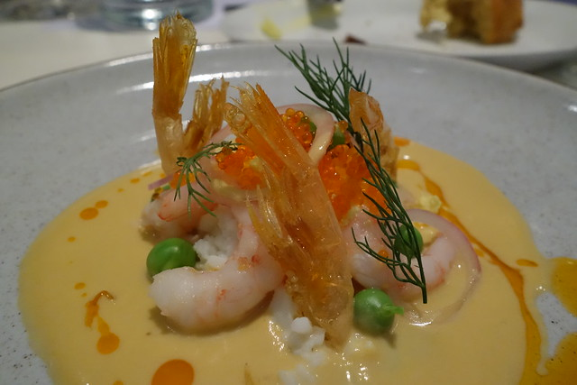 Greenland Prawns, Peas, Eggs & Prawn Emulsion by Chef Markus Dybwad - Restaurant Ember x Snorre Food Promotion May 2015