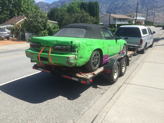 Banged up race car