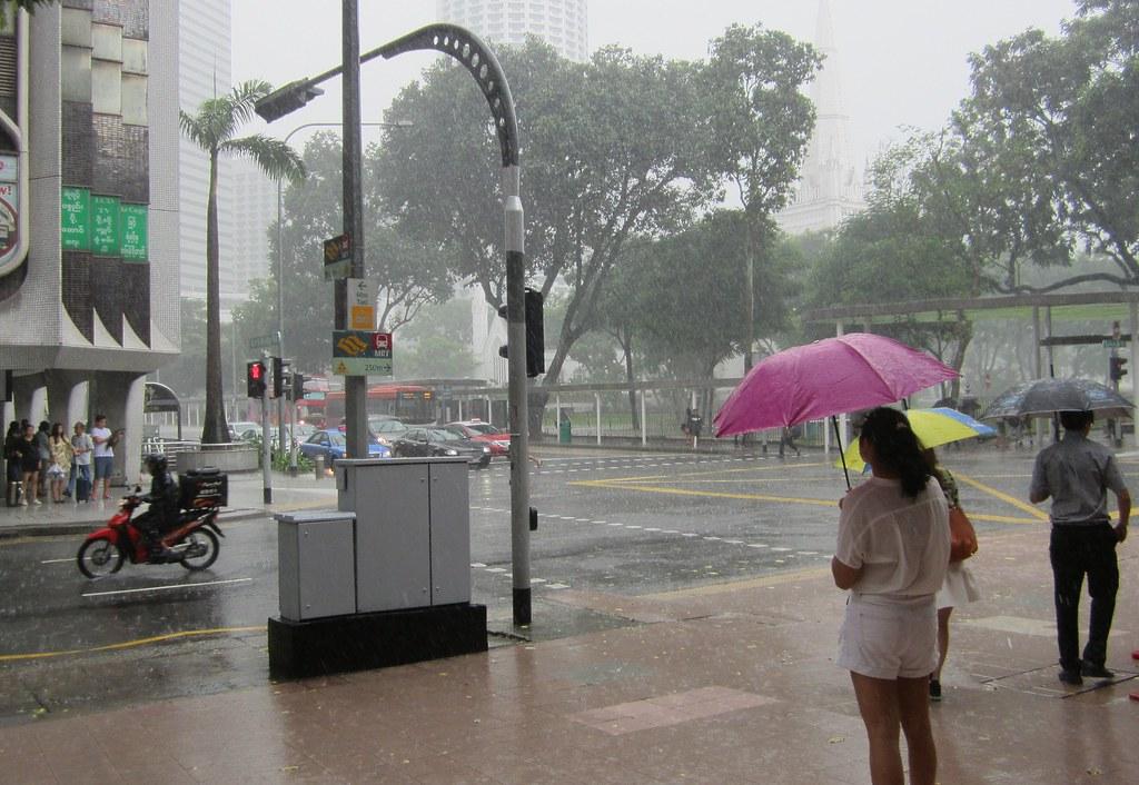 Singapore in the rain
