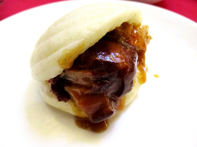 Ming Mei Shi braised pork belly in steamed bun