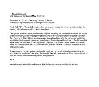 5/17/16 US DOL Statement
