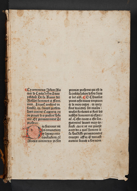 Penwork initial in Boccaccio, Giovanni: De casibus virorum illustrium [French]