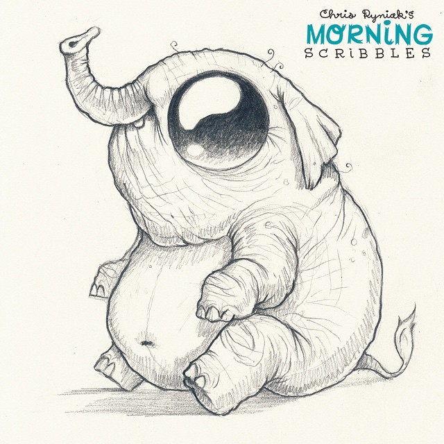 Character Drawings Portraits And Monsters: Elephant! 🐘#morningscribbles