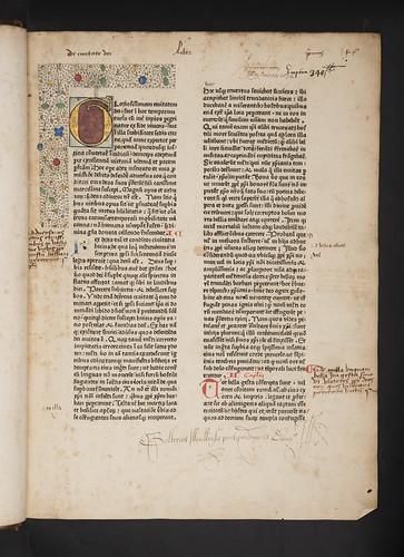 Illuminated initial and provenance inscriptions in Augustinus, Aurelius: De civitate dei