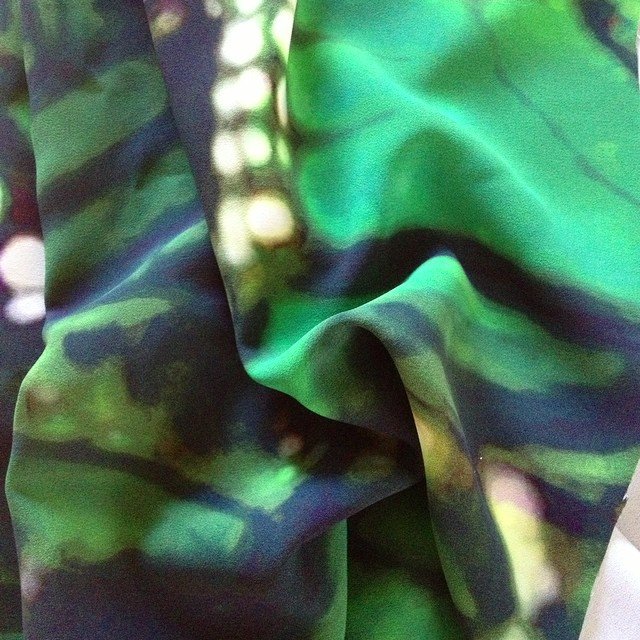 Monique L'Huillier Silk Crepe de Chine, digitally printed in Italy. Destined to be a jumpsuit to wear to a friend's bachelorette party next weekend. #nuffsaid #gonnabeepic #fabricheaven #sewing