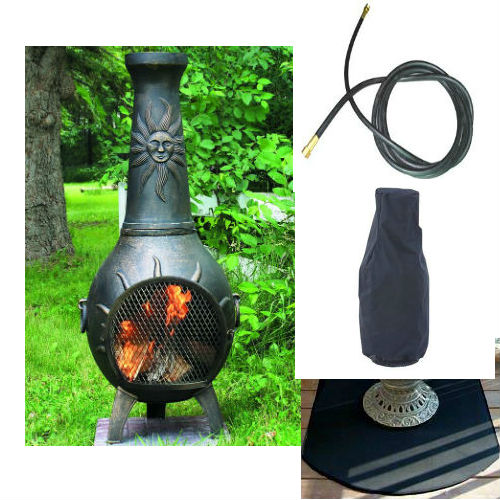 QBC Bundled Blue Rooster Sun Stack Chiminea with Propane Gas Kit, Half Round Flexbile Fire Resistent Chiminea Pads, 20 ft Gas line, and Free Cov Gold Accent Color - Plus Free QBC Metal Chiminea Guide