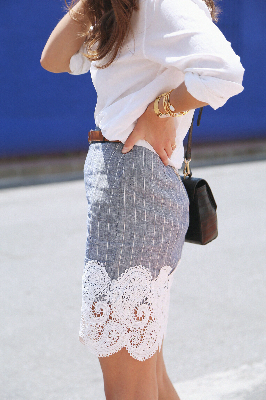 jessie chanes seams for a desire pink long skirt white off shoulder top gucci bag-13