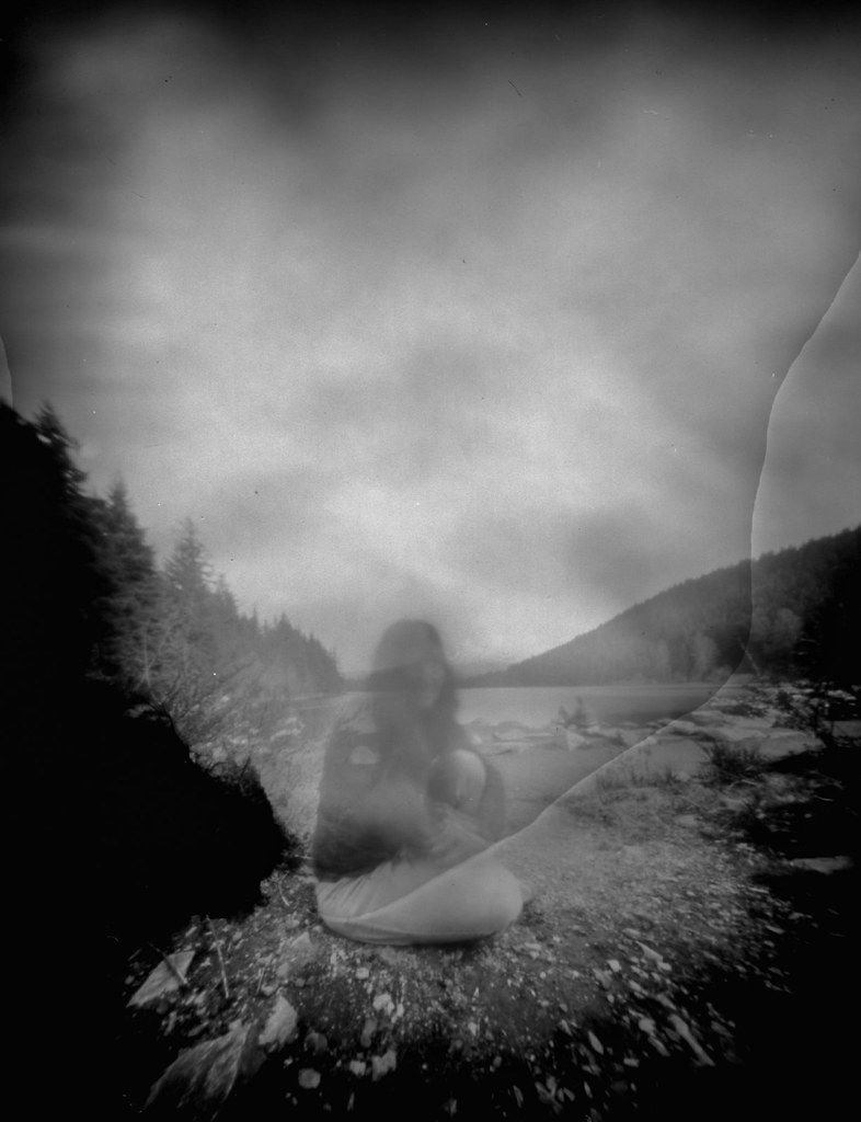 self on lake shore (pinhole)