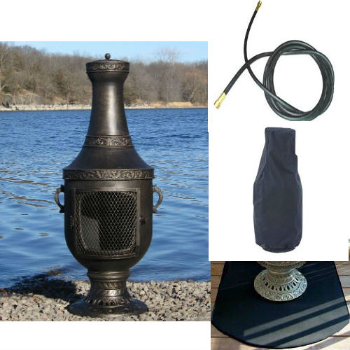 QBC Bundled Blue Rooster Venetian Chiminea with Propane Gas Kit, Half Round Flexbile Fire Resistent Chiminea Pads, 20 ft Gas line, and Free Cov Gold Accent Color - Plus Free QBC Metal Chiminea Guide
