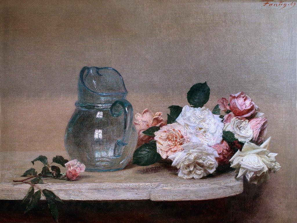 henri fantin latour roses and a glass pitcher 1889 lyon flickr. Black Bedroom Furniture Sets. Home Design Ideas