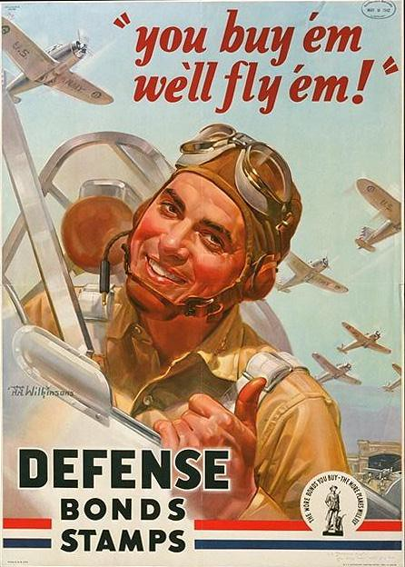 World War II Poster - defense bonds stamps