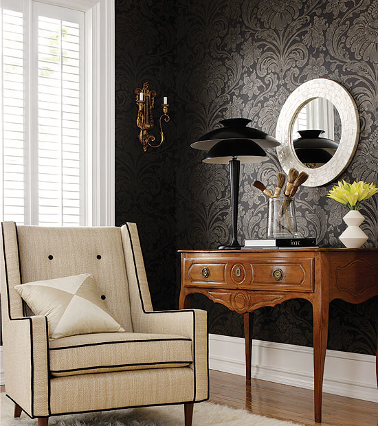 New Home Decorating Tips: Living-room-hall-decorating-ideas-home-decor-black-wallpap