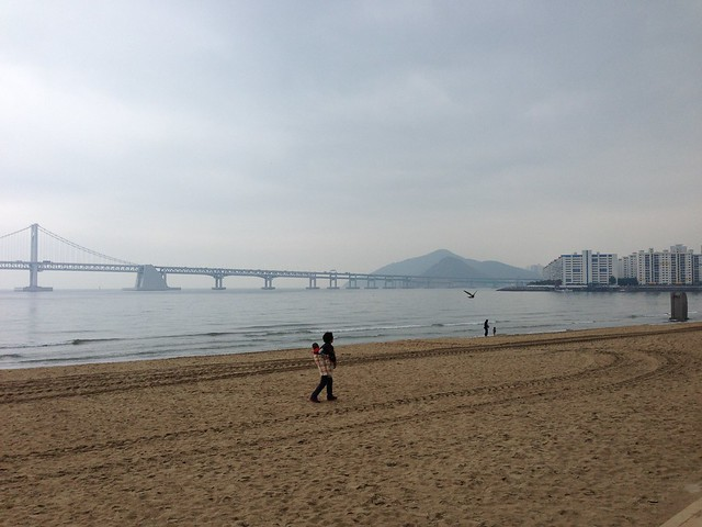 Woman and baby at Gwangalli Beach