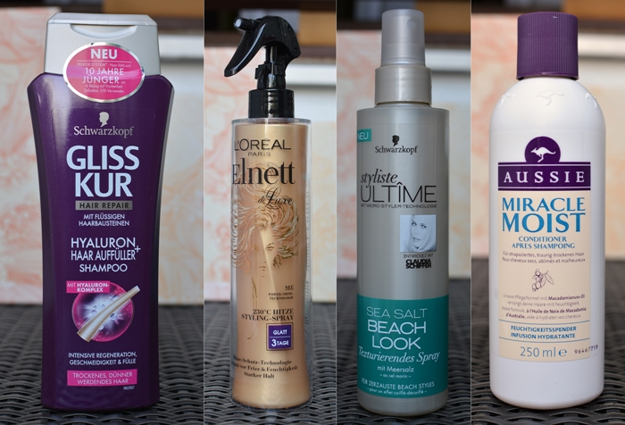dm Box Gliss Kur Hyaluron Haar Auffüller Shampoo L'Oreal Elnett 230°C Hitze Styling Spray Schwarzkopf styliste Ultime Sea Salt Beach Look Aussie Miracle Moist Conditioner