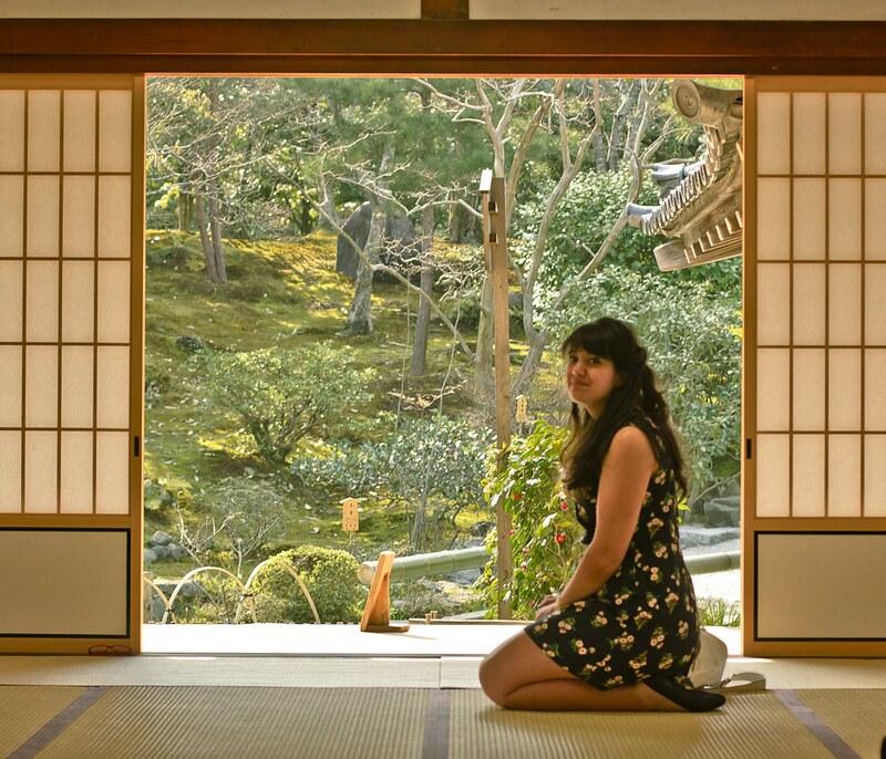 girl in black dress, black floral dres, joy the store, arashiyama, bamboo, bamboo mat, black, black dress, blossom, buddhism, buddhist, flowers, garden, geisha, hanami, Japan, joy, kimono, kyoto, sakura, shrine, temple, tenryuji