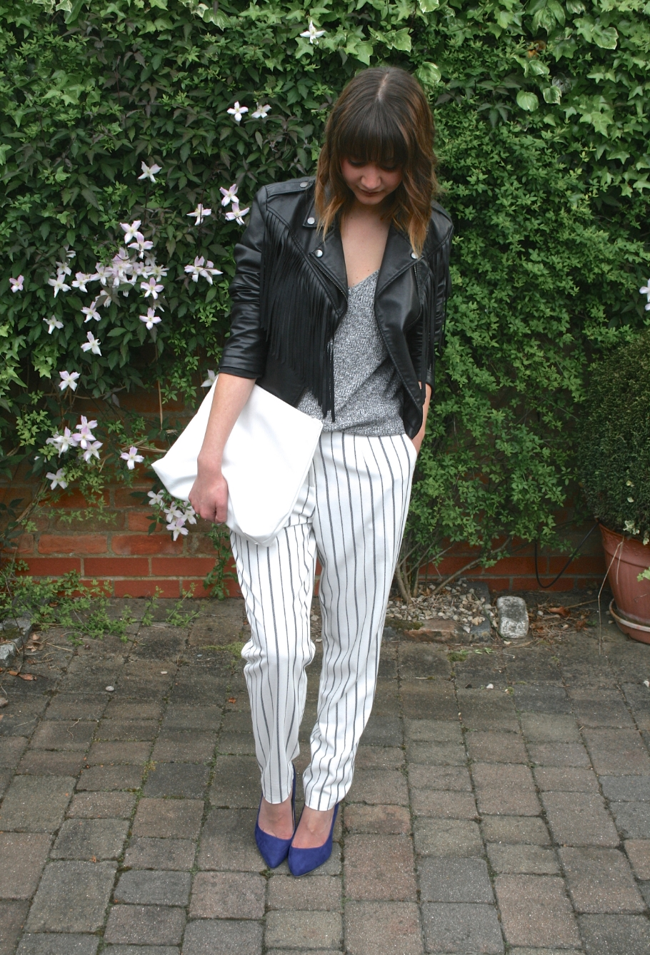 striped trousers outfit post
