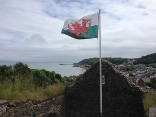 View of Mumbles pier from Oystermouth Castle, South Wales